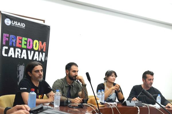 """Дебата """"Македонија, со или без слобода"""" (од десно на лево): Петрит Сарачини, Тони Зен, Елена Пренџова, Џабир Дерала"""